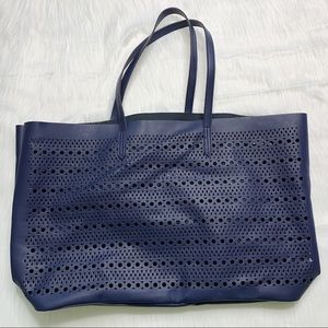 Saks Fifth Avenue Laser Cut Navy Tote Faux Leather